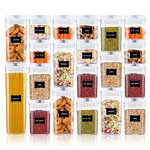 Airtight Food Storage Containers, Vtopmart 20 Pieces BPA Free Plastic Cereal Containers with Easy Lock Lids,for Kitchen Pantry Organization and Storage,Include 24 Chalkboard Labels and 1 Marker ()