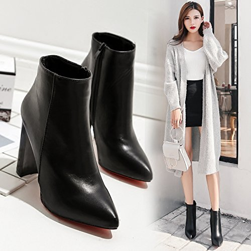 And Heeled Autumn Coarse Boots Cotton KHSKX Short And Match Bare Pointed Velvet All Black And Winter Plus High Martin To Shoes Boots The Tube Spring Boots xwqPRFXq