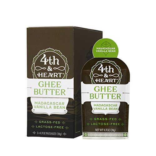 Vanilla Bean Grass-Fed Ghee Butter by 4th & Heart, On-the-Go Single Serving 5-Count, Pasture Raised, Non-GMO, Lactose Free, Certified Paleo