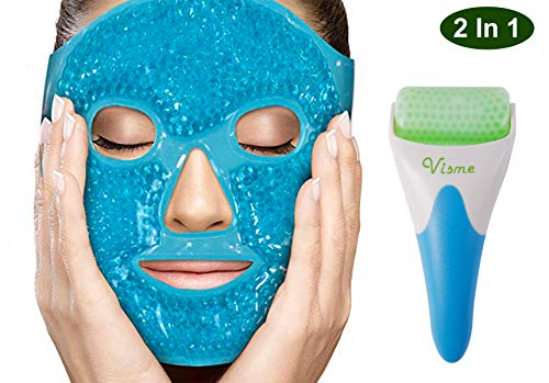 Face Ficial Jade Ice Roller - Gel Eye Mask Cold Therapy Pack With Cooling Ice Roller Anti Wrinkle Gua Sha Tool for Face & Eye Puffiness Migraine Pain Relief Facial Massager Treatment Skin Care Product