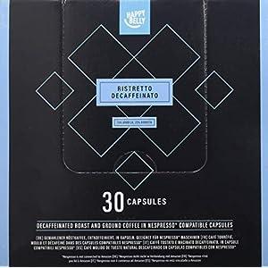 Marchio Amazon - Happy Belly  Ristretto Decaffeinato Caffè UTZ tostato, macinato e decaffeinato in capsule, compostabili, compatibili Nespresso, 30 capsule
