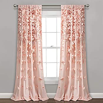 Lush Decor Riley Curtain Sheer Ruffled Textured Bow Window Panel for Living, Dining Room, Bedroom (Single) 84