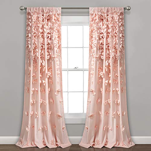 "Lush Decor Blush Riley Curtain Sheer Ruffled Textured Bow Window Panel for Living, Dining Room, Bedroom (Single) 84"" x 54 L"