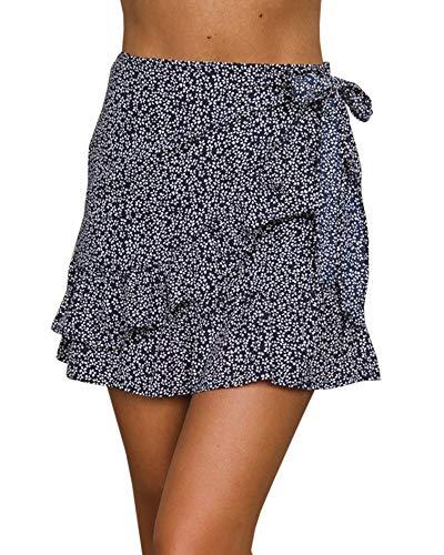 Jeanewpole1 Womens Floral High Waisted Ruffle Short Mini Wrap Skirts (XX-Large, Navy)