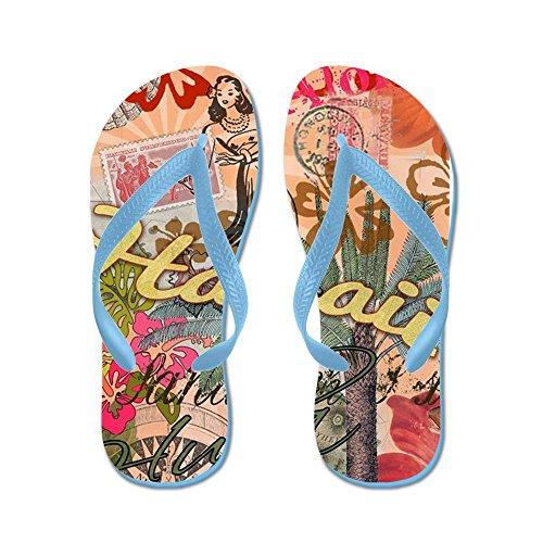 CafePress Vintage Hawaii Travel colorful Hawaiian Tropical C - Flip Flops, Funny Thong Sandals, Beach Sandals Caribbean Blue