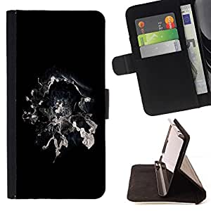 DEVIL CASE - FOR Apple Iphone 4 / 4S - cool abstract smoke galaxy space magic black white - Style PU Leather Case Wallet Flip Stand Flap Closure Cover
