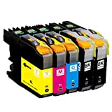 O'Image 5-Pack LC201 LC203 LC203XL Ink Cartridge Replacing for Brother MFC-J460DW J480DW J485DW J680DW J880DW J885DW J4320DW J4420DW J4620DW J460DW J5520DW J5620W J5720DW Series Printer (5-Pack: 2K.1C.1M.1Y)