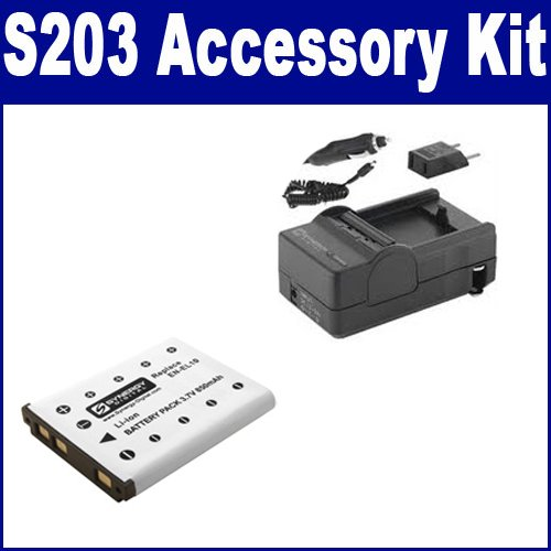 Nikon Coolpix S203 Digital Camera Accessory Kit includes: SDENEL10 Battery, SDM-165 Charger