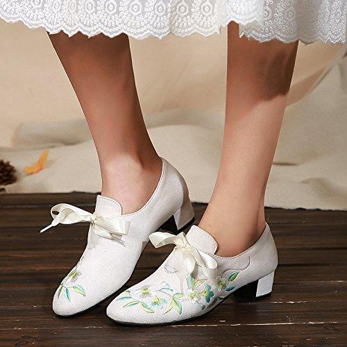 Ajunr Moda/elegante/Transpirable/Sandalias Ajunr Moda/elegante/Transpirable/Sandalias nuevo estilo solo zapatos dulce zapatos de princesa rough Heels boca superficial medio tacón zapatos de mujer de v white