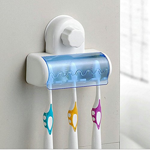 MAZIMARK--New Bathroom Decor Vaccum Suction Wall Dust-proof Toothbrush Holder 5 in 1 - Triangle Nc Mall