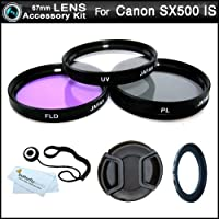 67mm Multi-Coated 3 Piece Filter Kit (UV-CPL-FLD) For The Canon PowerShot SX500 IS, SX500is Digital Camera + Necessary Ring Adapter (67mm) + Snap-On Lens Cap + Cap Keeper + MicroFiber Cleaning Cloth