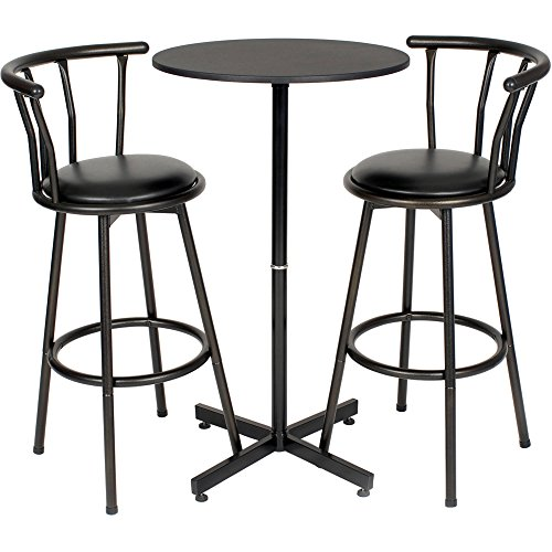 (Nor Hill 3-Piece Black Metal Height Bar Table Set with 2 Stools, 29-Inch + Expert Guide)
