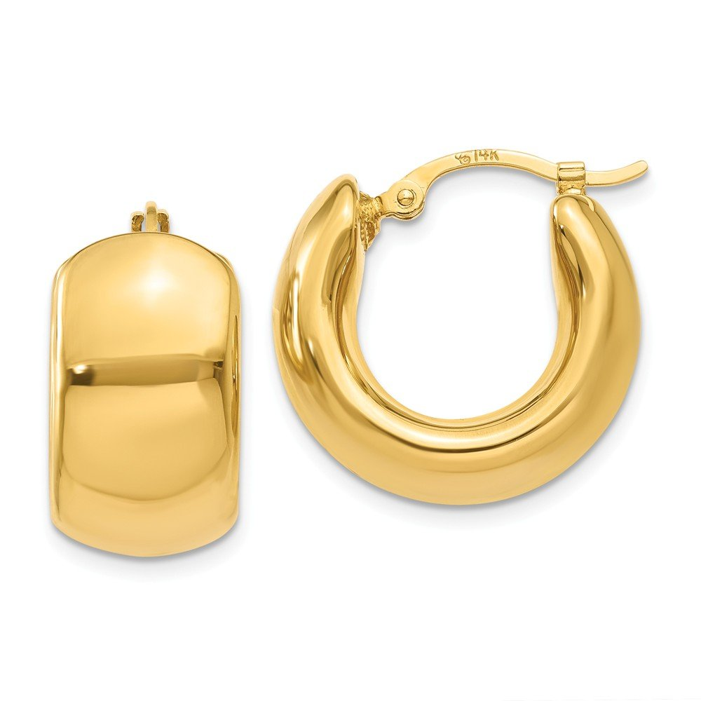 Wide Puffed Hoops in 14k Yellow Gold, 17mm (5/8 Inch)