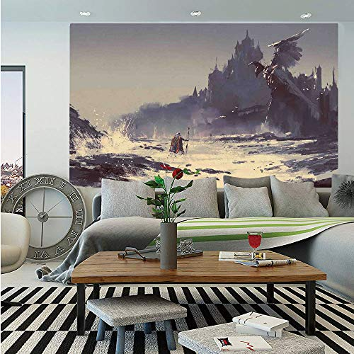 (SoSung Medieval Decor Huge Photo Wall Mural,Fantastic Paint of The King Walking Through The Sea Gothic Tale Myth Grunge Art Work,Self-Adhesive Large Wallpaper for Home Decor 100x144 inches,White Grey)