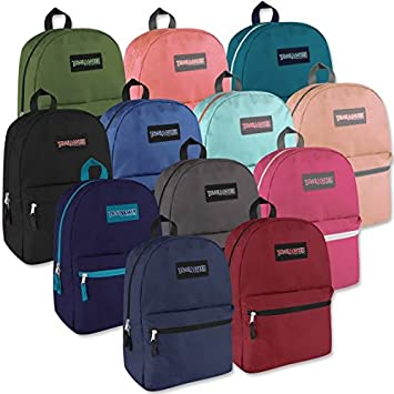 Lot of 24 Wholesale TrailMaker 17 Inch Backpacks – 12 Different Colors