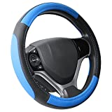 "Image of SEG Direct Black and Blue Microfiber Leather Steering Wheel Cover For Prius Civic 14"" - 14.25"""