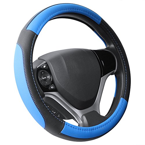 SEG Direct Black and Blue Microfiber Leather Steering Wheel Cover For Prius Civic 14