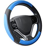 "SEG Direct Black and Blue Microfiber Leather Steering Wheel Cover for Prius Civic 14"" - 14.25"""