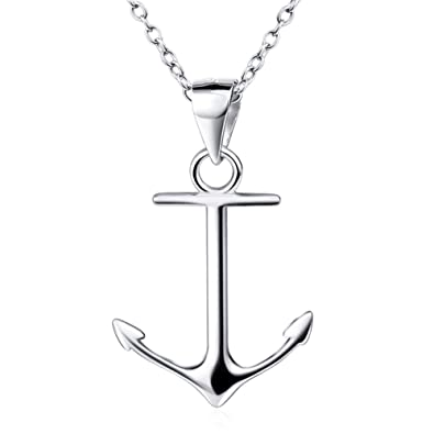 Amazon sterling silver anchor pendant necklace personalized sterling silver anchor pendant necklace personalized white gold plated women fashion jewelry aloadofball Images