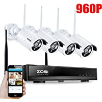 ZOSI 960P AUTO-PAIR WIRELESS SYSTEM 4 Channel 960P HD Wireless NVR kit with 4x 960p HD 1.3MP Waterproof Wireless IP Security Cameras NO HDD (Certified Refurbished)
