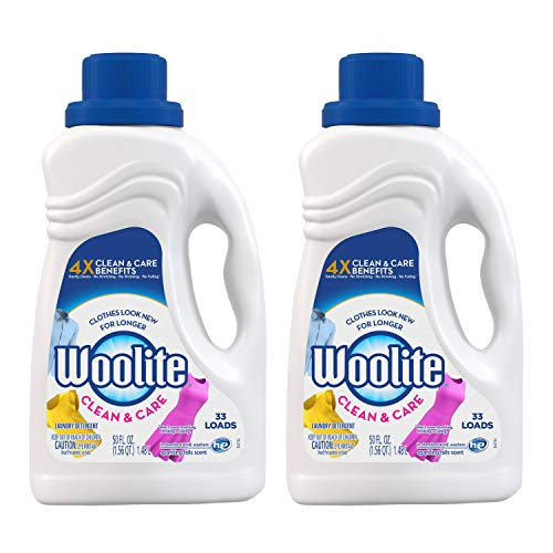 Woolite Clean & Care Liquid Laundry Detergent, 2x33 Loads, 2x50oz, Regular& HE Washer, Gentle Cycle, sparkling falls scent,packaging may vary (Best Color Protecting Laundry Detergent)