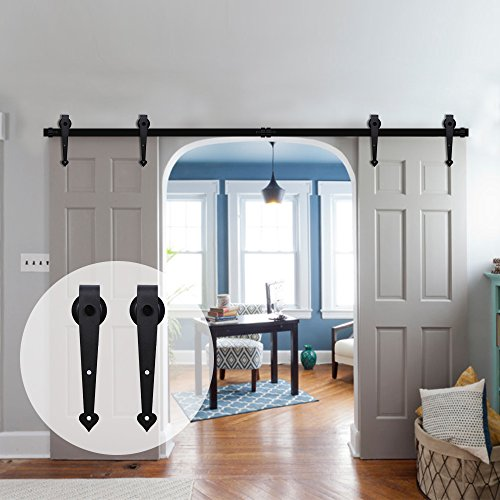 7.5' Heart (CCJH 7.5-Feet Heart Style Country Steel Sliding Barn Interior Door Hardware - Black for Double Door)
