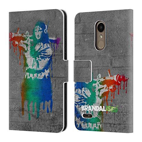 Official Brandalised Mona Launcher Banksy Art Coloured Drips Leather Book Wallet Case Cover for LG K10 / K11 / K11 Plus (2018)