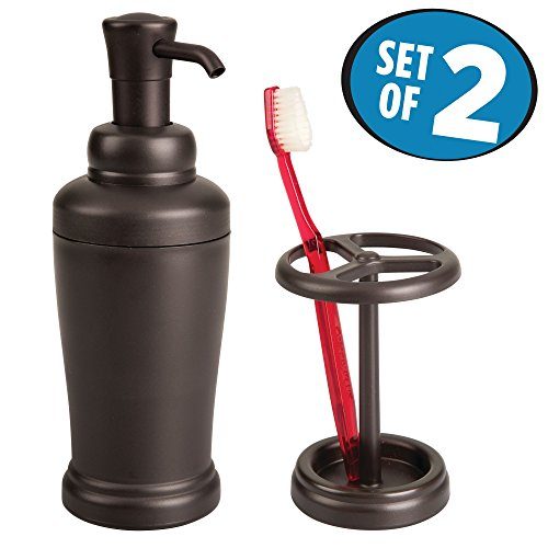 mDesign Soap Pump Dispenser and Toothbrush Holder for Bathroom Vanity – Set of 2, Bronze by mDesign