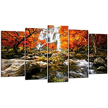 Kreative Arts - Autumn Forest Waterfalls 5 Piece Modern Wrapped Giclee Canvas Prints Artwork Landscape Tree Paintings Pictures on Canvas Wall Art for Living Room (Large Size 60x32inch)
