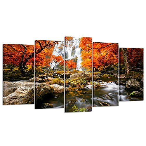 - Kreative Arts - Autumn Forest Waterfalls 5 Piece Modern Wrapped Giclee Canvas Prints Artwork Landscape Tree Paintings Pictures on Canvas Wall Art for Living Room (Large Size 60x32inch)