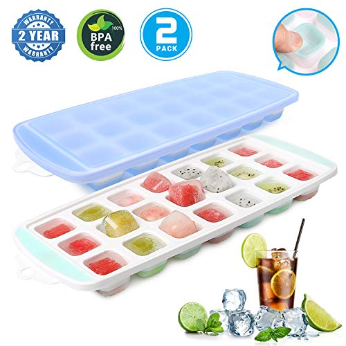 - Ice Cube Trays, Ice Tray Food Grade Flexible Silicone Ice Cube Tray Molds with Lids, Easy Release Ice Trays Make 42 Ice Cube, Stackable Dishwasher Safe, Non-toxic, BPA Free (2019 Newest/2 Packs)