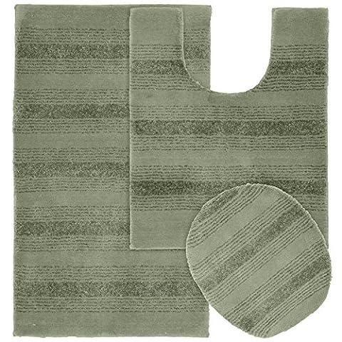 Garland Rug 3-Piece Essence Nylon Washable Bathroom Rug Set, Deep Fern (Bathroom Rugs Contour)