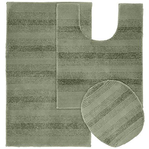 Garland Rug 3-Piece Essence Nylon Washable Bathroom Rug Set, Deep Fern