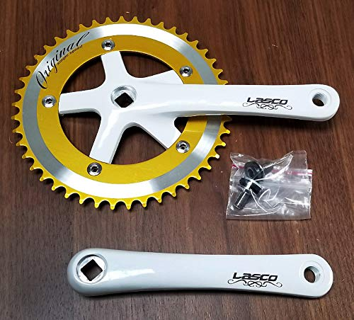LASCO Made in Taiwan! Full Aluminum Alloy Crankset - Golden/white, 1-speed, for fixie fixed gear bikes and beach cruiser bikes