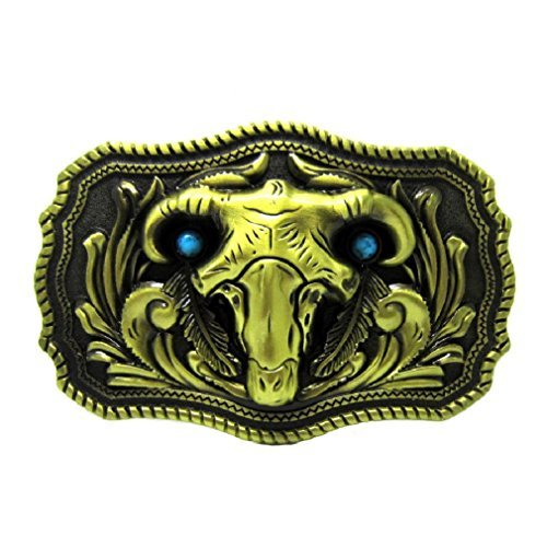 (Scrolling Ram Skull Head Horn Sheep Belt Buckle Turquoise Feather Rodeo Goat Men)
