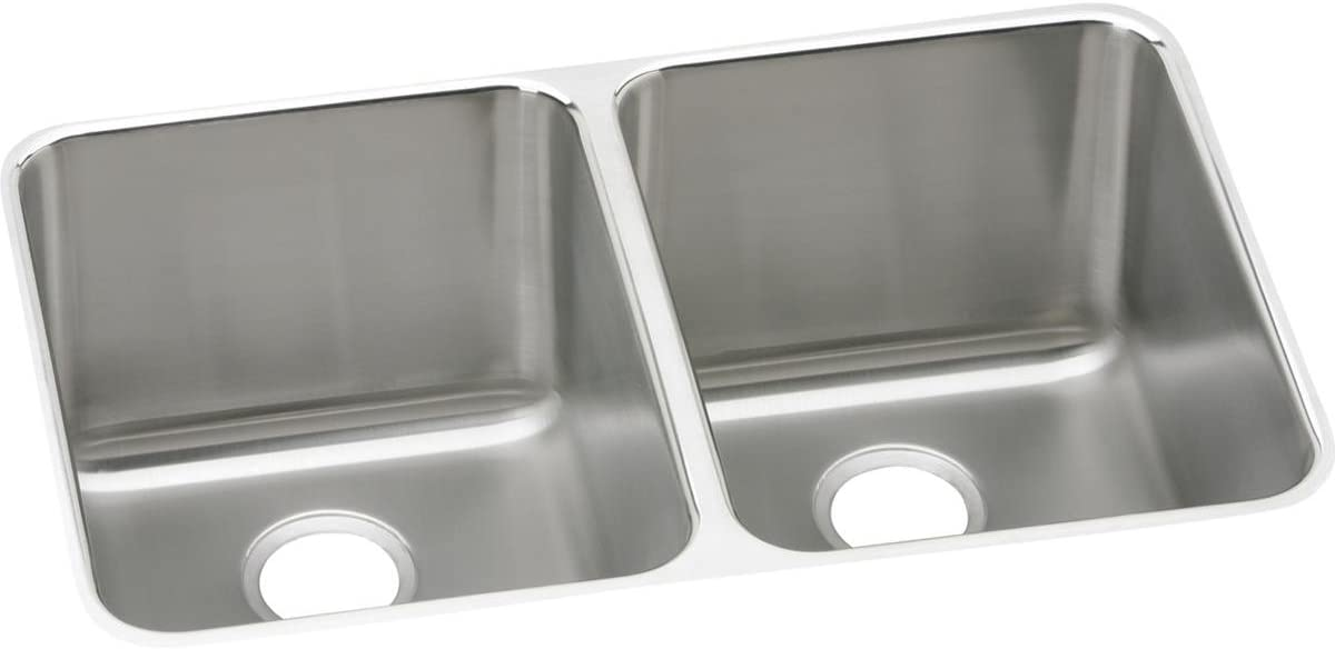 Elkay Lustertone Classic ELUH322010 Equal Double Bowl Undermount Stainless Steel Sink