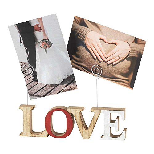 (Love Block Letter 6 x 3 Wood Photo Clip Holder )