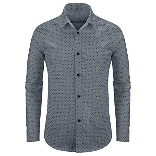 WULFUL Men's Casual Long Sleeve Dress Shirt Print Cotton Business Button Down Shirts Regular Fit Grey