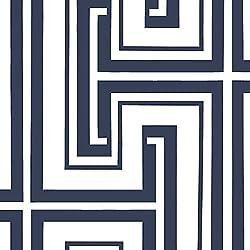 "Manhattan comfort NWSH34521 Bristol Series Vinyl Geometric Maze Design Large Wallpaper Roll, 20.5"" W x 32.7' L, Navy Blue/White"