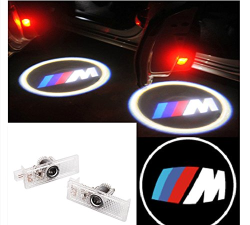 Moonet 2x LED Door Courtesy Shadow Ghost Lamp Projector Light for BMW M3 M5 Z3 Z4 with ///M logo (Bmw Z4 M3)