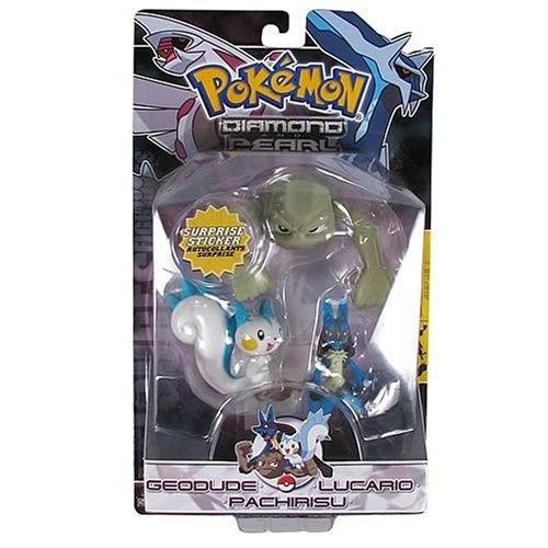 Pokemon Jakks Pacific Diamond & Pearl Series 1 Basic Figure 3-Pack Pachirusu, Geodude & Lucario ()