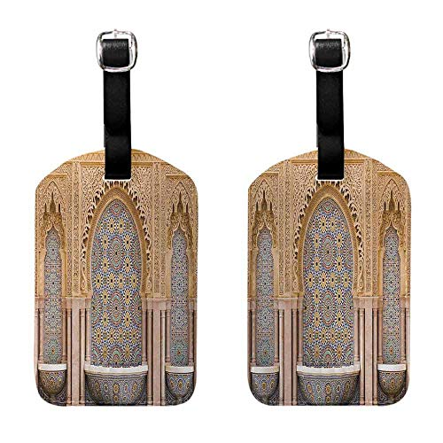 Women's Luggage Tag Moroccan,Typical Moroccan Tiled Fountain in the City of Rabat Near Hassan Tower,Apricot Pale Brown for Suitcase 1 Piece (Best Hotels In Rabat)