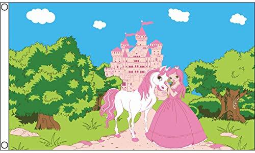 AZ FLAG Princess Pony Castle Flag 3' x 5' - Princess with Horse Flags 90 x 150 cm - Banner 3x5 ft -