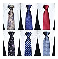 Tiger Mama 6pcs Zipper Tie Pre-tied Necktie Mixed Lot