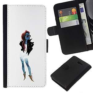 A-type (De moda las gafas de sol de moda de mujer de chicas) Colorida Impresión Funda Cuero Monedero Caja Bolsa Cubierta Caja Piel Card Slots Para Sony Xperia M2