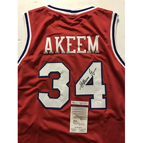 best cheap ddd4f 17c47 Autographed/Signed Hakeem Akeem Olajuwon Houston Cougars Red ...