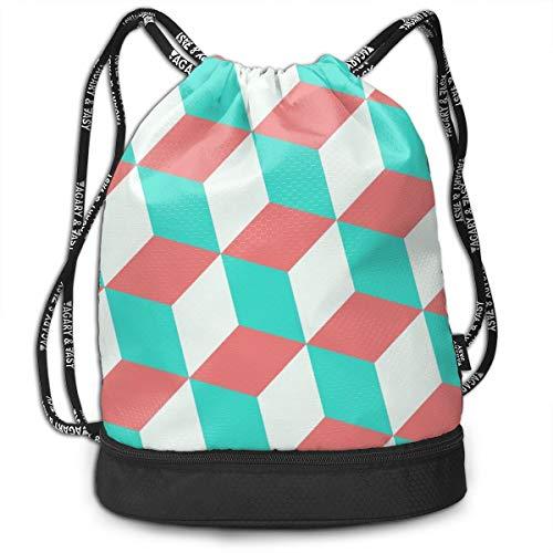 (Bulk Drawstring Backpack, Lightweight Gym Sport Bundled Bag Wet Dry Separated Yoga String Cinch Tote Bag Multipurpose Casual Bag For Adult Kids - Polka Dot)