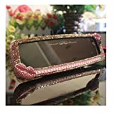 LuckySHD Bling Car Rear View Mirror with Rhinestone Lip - Pink