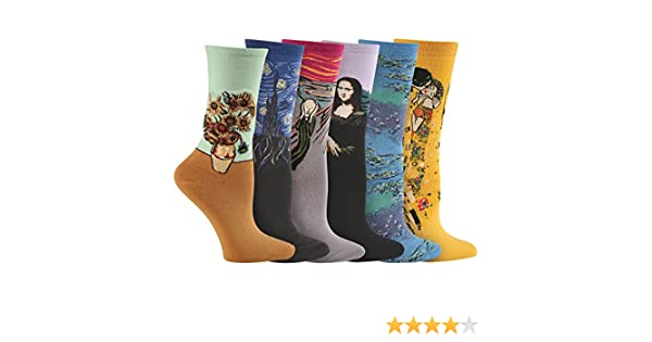 Amazon.com: Womens Colorful Fine Art Socks - Da Vinci, Munch, Van Gogh, Klimt - 6 Pairs: Clothing