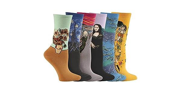 De la Mujer colorida Fine Art calcetines - da Vinci, Munch, Van Gogh, Klimt - 6 pares: Amazon.es: Ropa y accesorios